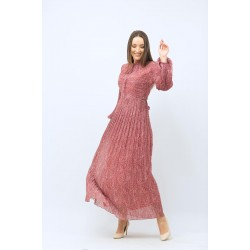Patterned Pleated Rose Dress