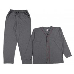 Long Sleeves buttoned men anthracite color pajama suit