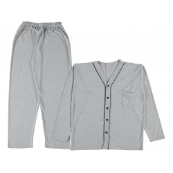 Long Sleeves buttoned men Grey color pajama suit