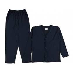 Long Sleeves buttoned men Navy Blue color pajama suit