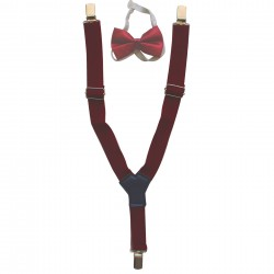 Braces with a claret red tie