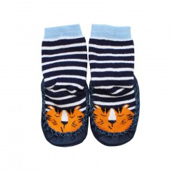 Boys striped socks with a tiger print in navy blue
