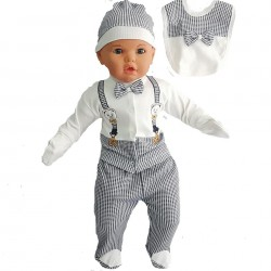Navy blue  5-piece hospital baby discharge set with teddy bear and belt