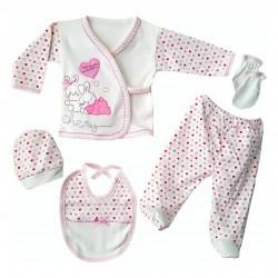 y Heart Pink 5pcs Baby Girl Hospital Outlet Set