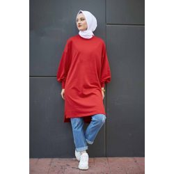 Balloon Sleeve Sport Red Tunic