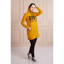 BTS Letter Printed Sports Sweat Mustard Color