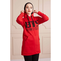 BTS Letter Printed Sports Sweat Red Color