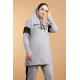 Hooded Printed Sports Suit Grey Color