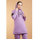 Hooded Printed Sports Suit Lilac