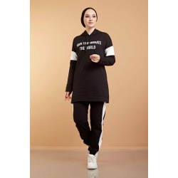 Hooded Printed Sports Suit Black Color