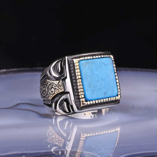 Silver ring with square turquoise stone for men