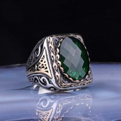 Silver ring with a green square stone for men
