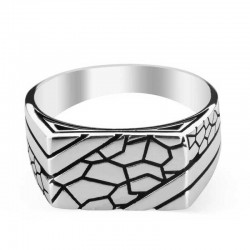 Men's 925 silver ring engraved