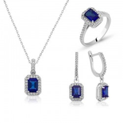 925 Sterling Silver Set for Women with Baguette Stone