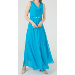 WOMEN'S Long chiffon Blue Dress  ( 4 Dresses package )