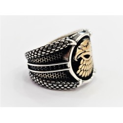 Mens silver ring with eagle head and claw design