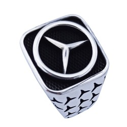 Silver Mercedes ring for men